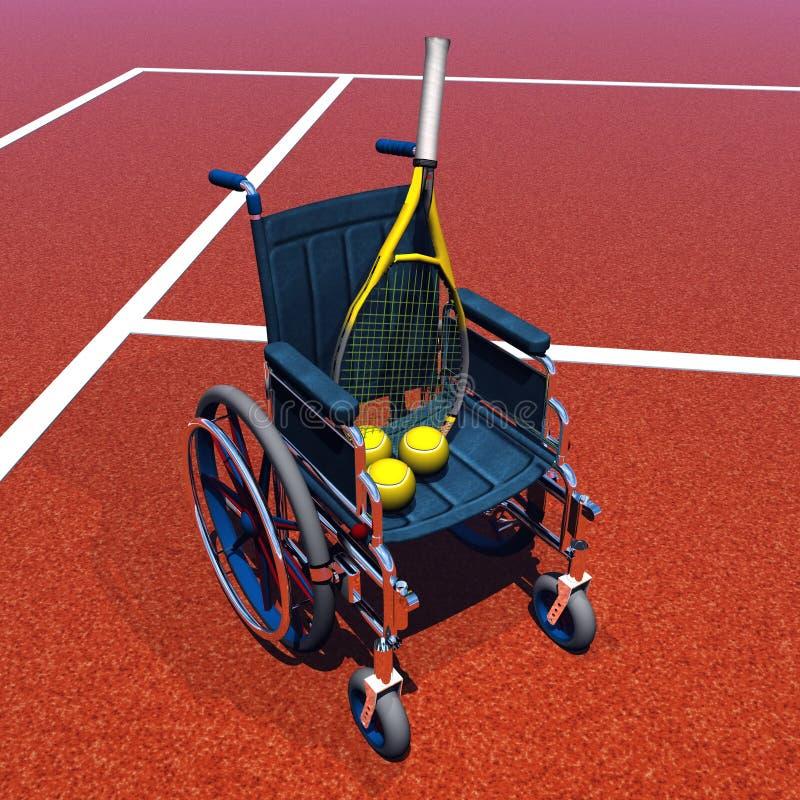 Tennis för handikappat - 3D framför royaltyfri illustrationer