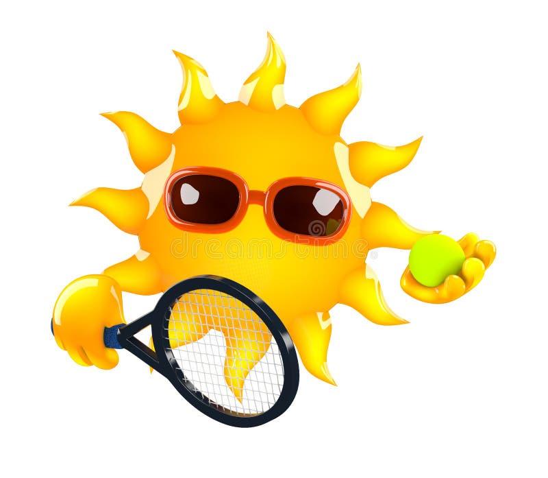 tennis för sol 3d royaltyfri illustrationer
