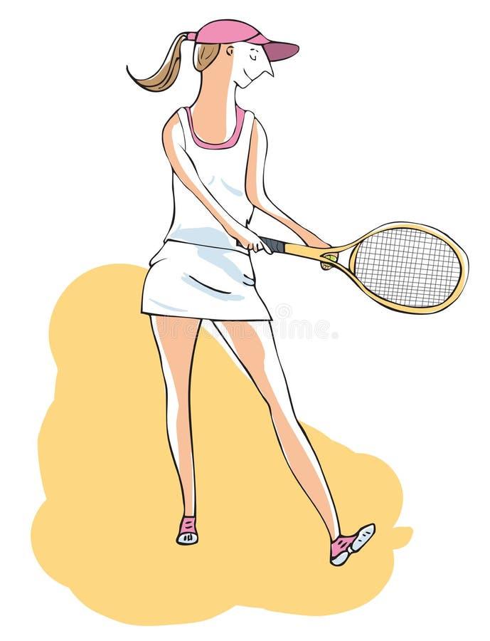 Tennis femminile circa per servire una palla Vettore disegnato a mano IL illustrazione di stock