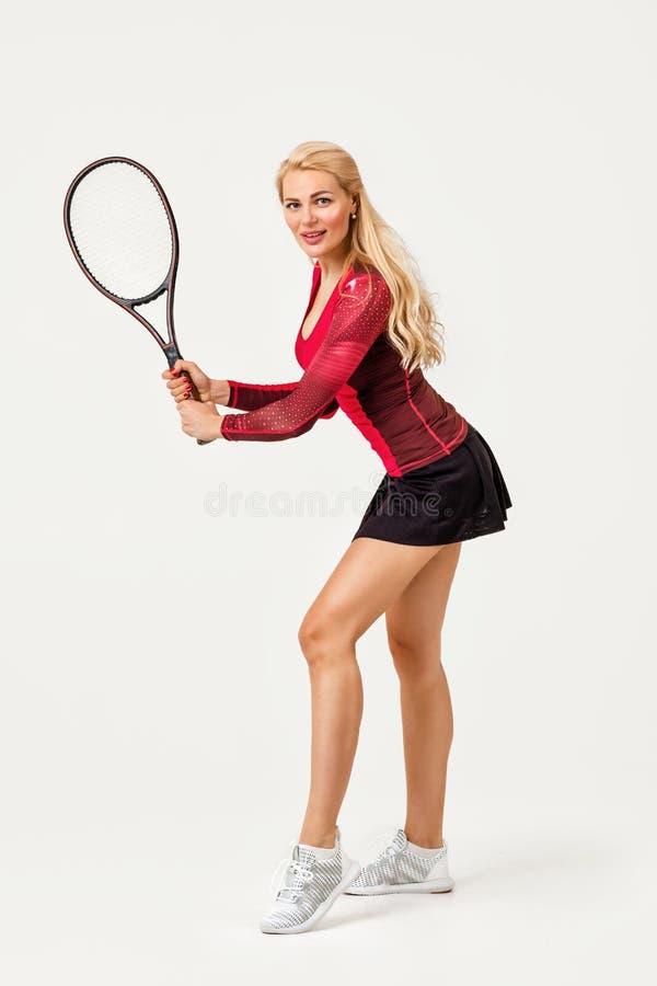 Tennis femminile con la racchetta di tennis immagini stock libere da diritti