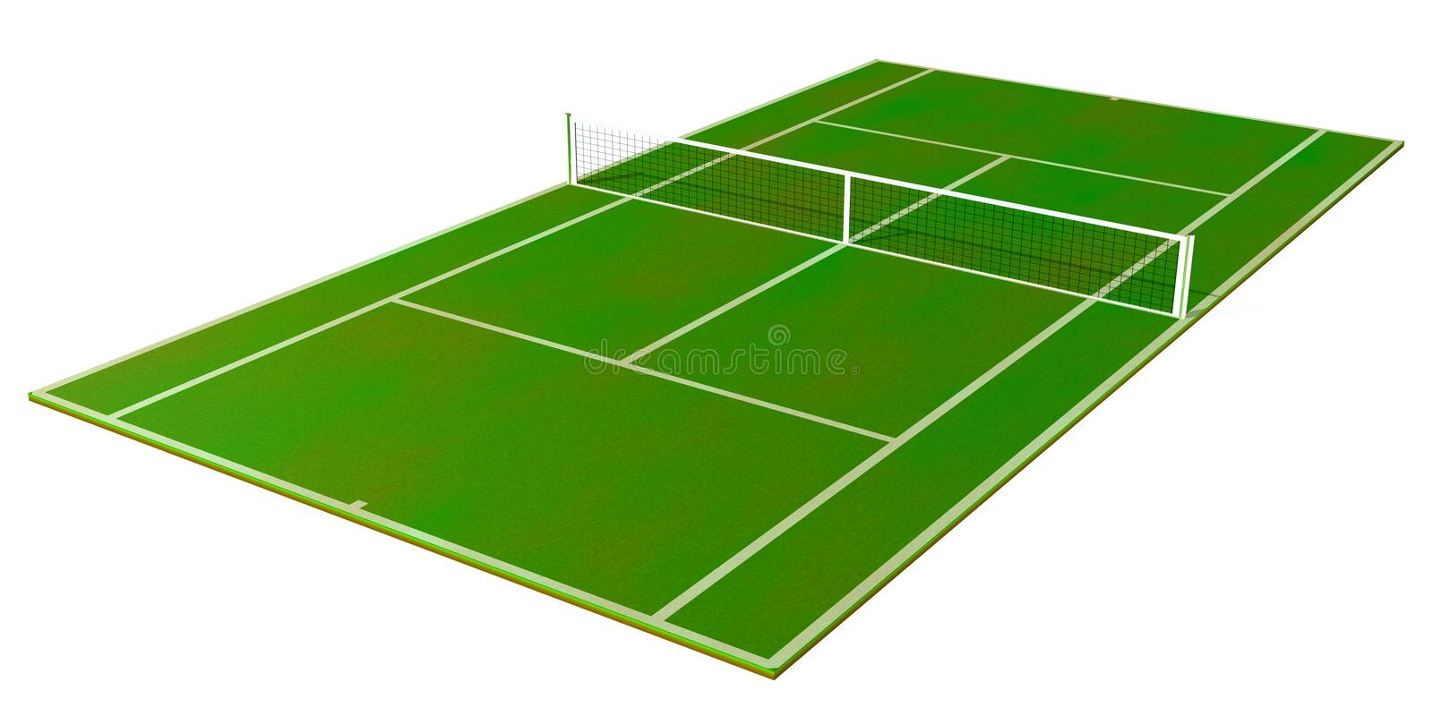Tennis Field. 3d tennis field isolated on white background stock photo