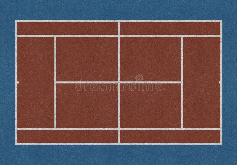 Tennis field brown. Tennis field. Tennis brown court. Top view royalty free stock photo
