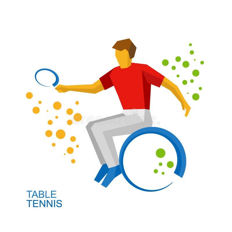 Tennis fisicamente disabile, tennis su sedia a rotelle illustrazione di stock