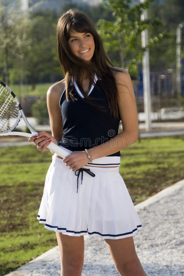 Tennis girl royalty free stock photo