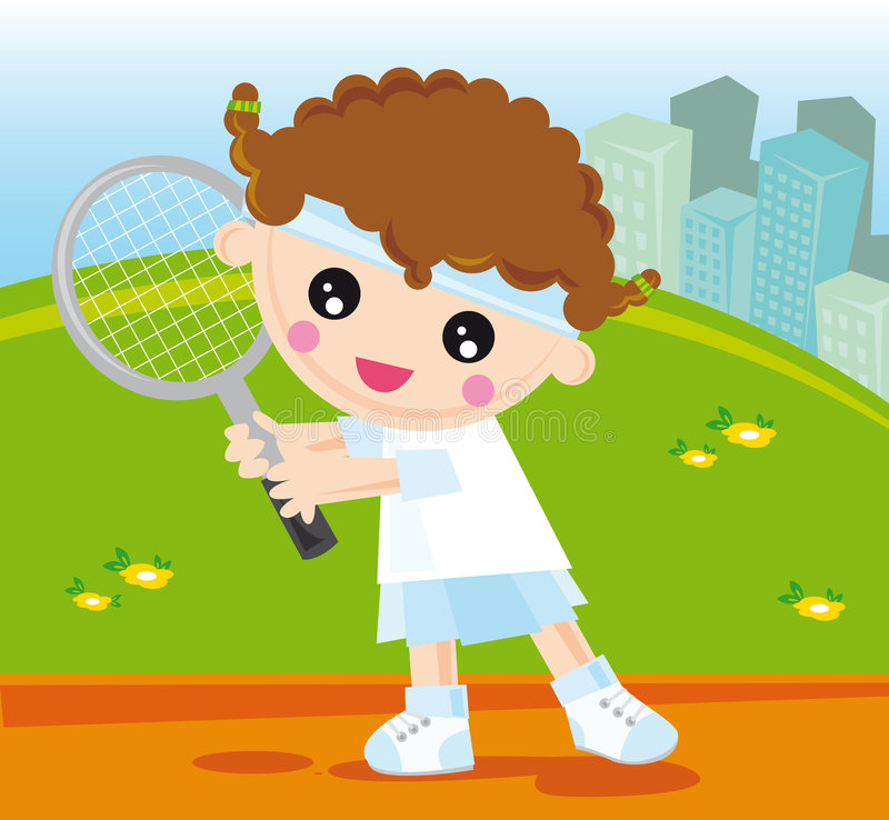 Tennis girl. Illustration of little girl playing tennis vector illustration