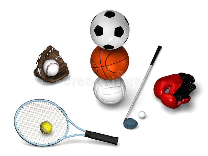 Tennis , golf, basket, soccer and more. Tennis, golf, soccerball, basketball, volleyball with red boxing gloves, baseball glove with ball vector illustration