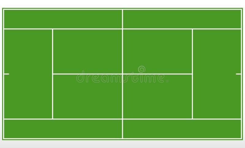 Tennis groen gebied Malplaatjetennisbaan met lijnen stock illustratie