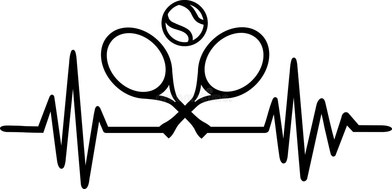Tennis heartbeat pulse. Heartbeat pulse line with tennis ball vector illustration