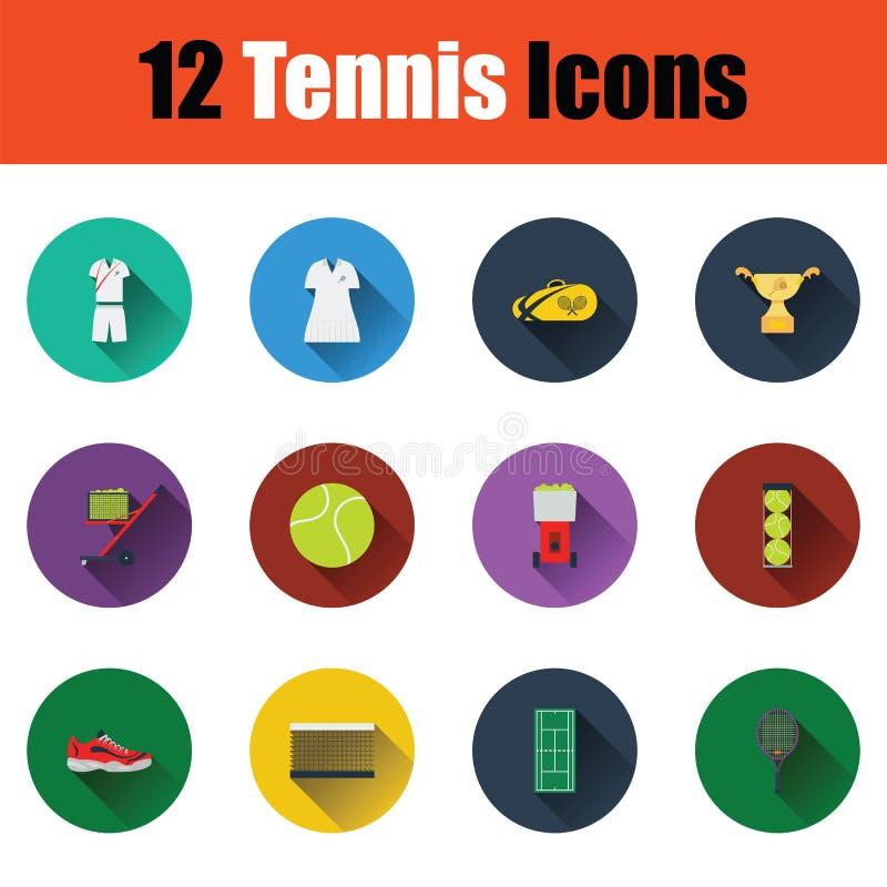 Tennis icon set. Flat design tennis icon set in ui colors. Vector illustration royalty free illustration