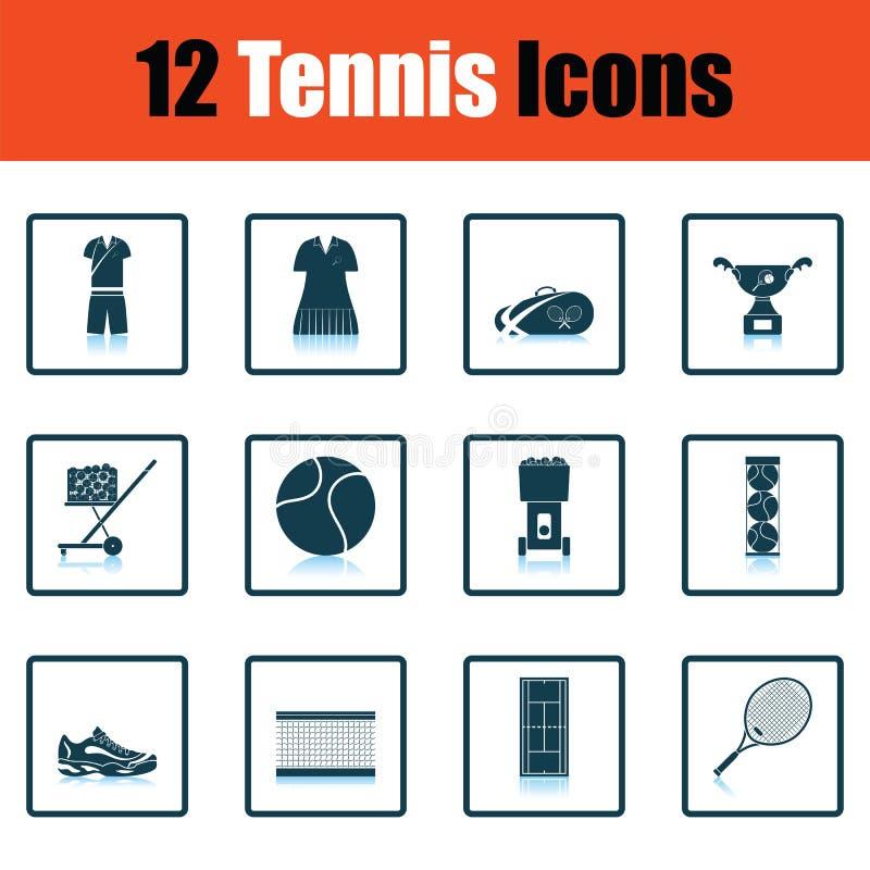 Tennis icon set. Shadow reflection design. Vector illustration vector illustration