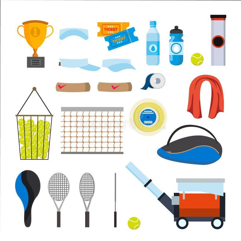 Tennis-Ikonen eingestellter Vektor Tenniszubehör Gelber Ball, Schläger, Netz, Beutel Lokalisierte flache Karikaturillustration vektor abbildung