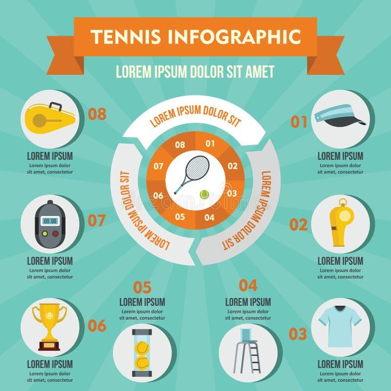 Tennis infographic concept, vlakke stijl royalty-vrije illustratie