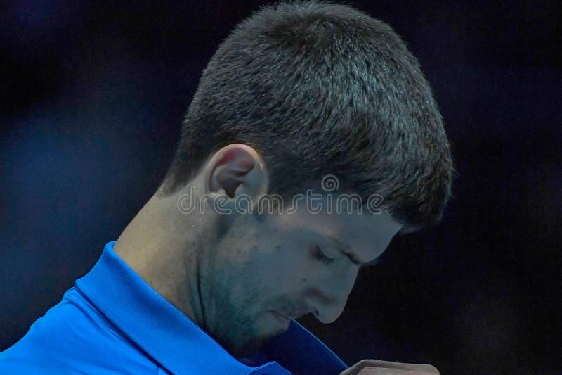 Tennis Intercitizens Nitto ATP Final NOVAK DJOKOVIC VS ROGER FEDERER royaltyfria foton
