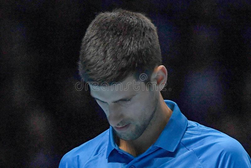 Tennis Intercitizens Nitto ATP Final NOVAK DJOKOVIC VS ROGER FEDERER royaltyfri bild
