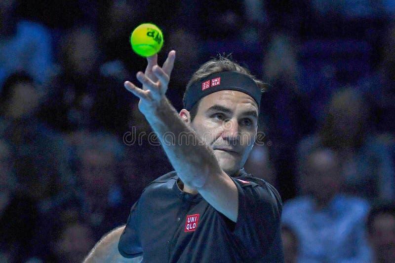 Tennis Intercitizens Nitto ATP Final NOVAK DJOKOVIC VS ROGER FEDERER royaltyfri fotografi