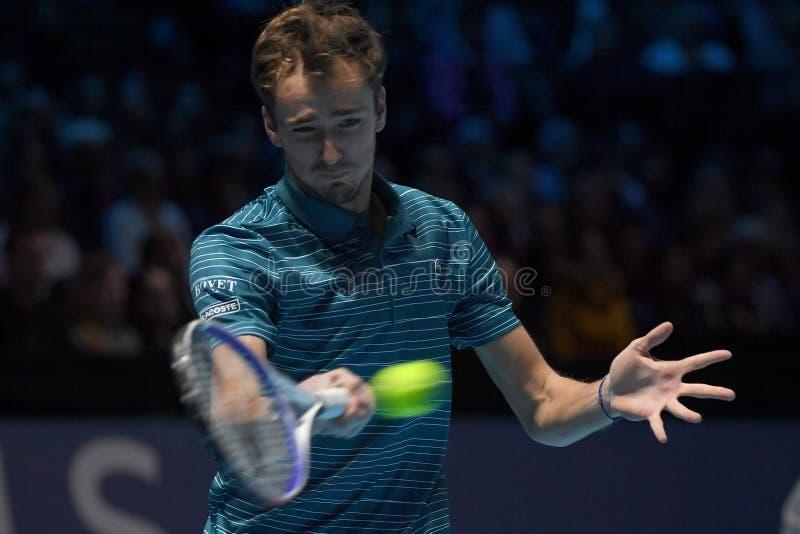 Tennis Intercitizens Nitto ATP Finals - Tournament - Daniil Medvedev mot Stefanos Tsitsipas arkivfoton