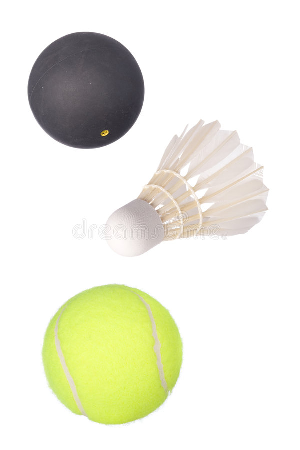 Tennis, Kürbis und Badminton lizenzfreies stockbild