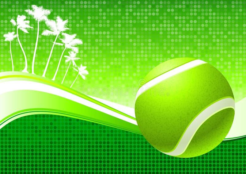 Tennis-Kugel auf abstraktem tropischem Hintergrund stock abbildung