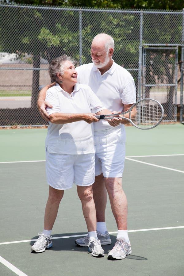 Tennis Lesson - Senior Woman Royalty Free Stock Image