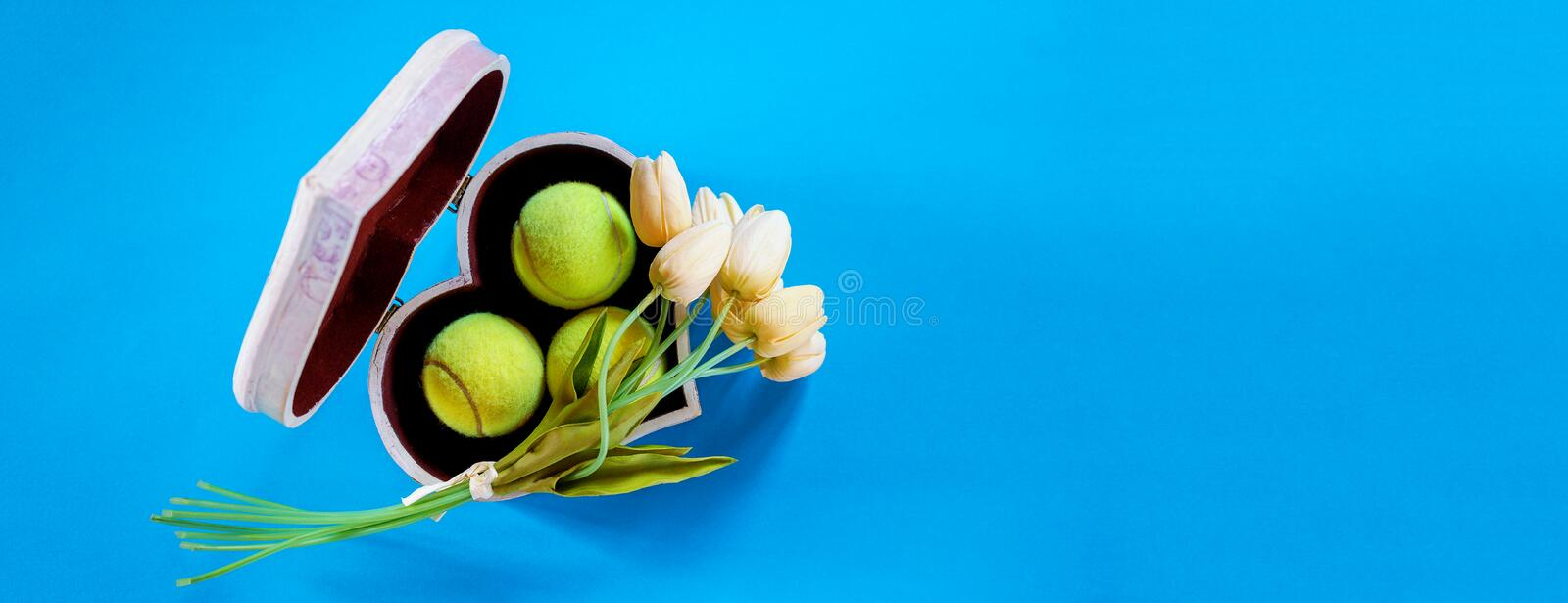 Tennis love layout tennis balls in box in shape of heart with bouquet white tulips on blue background. Women`s Day March 8. Copy royalty free stock photos