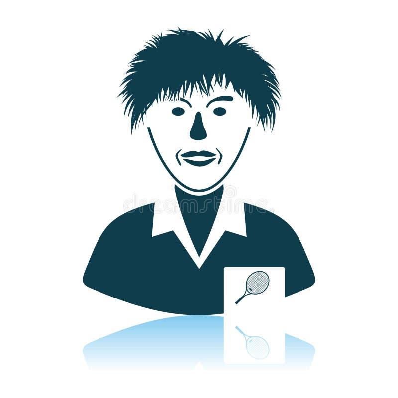 Tennis Man Athlete Head Icon. Shadow Reflection Design. Vector Illustration royalty free illustration