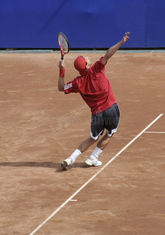 Tennis Man Serving Editorial Photo