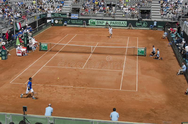 Tennis match between Monaco and Fognini for Davis Cup stock photography