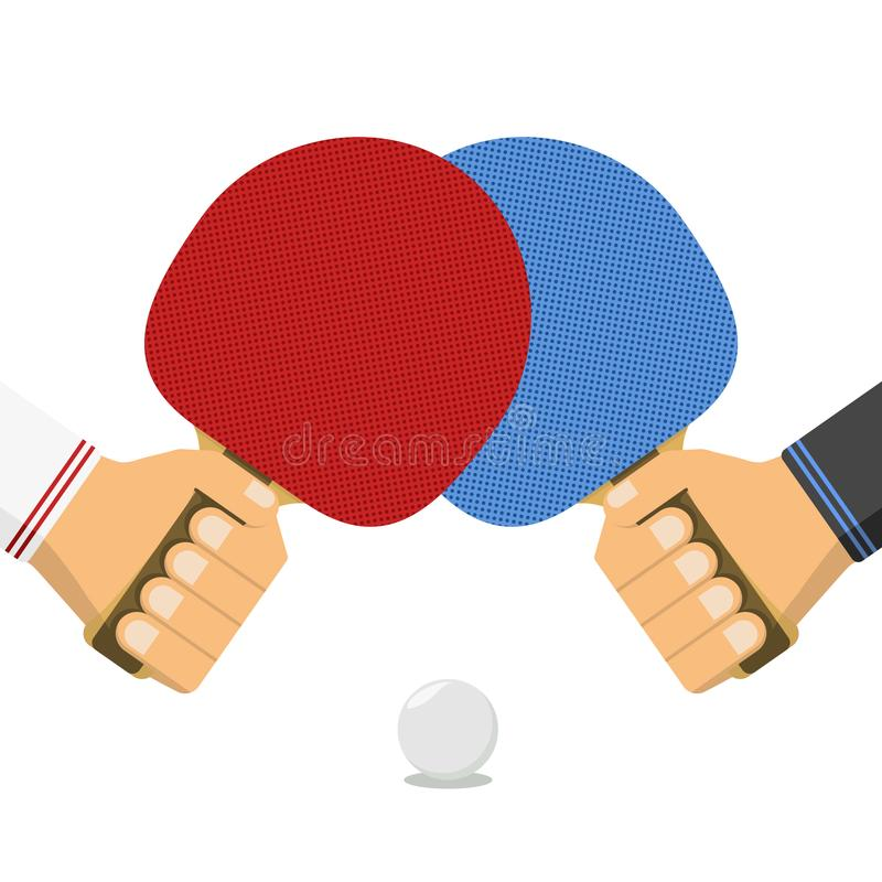 Tennis, ping pong bats in male hands and ball. royalty free illustration