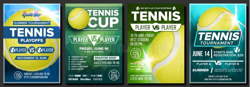 Tennis-Plakat-gesetzter Vektor Design für Sport-Stangen-Förderung Gericht, Tennisball Modernes Flieger-Turnier Sportereignis lizenzfreie abbildung