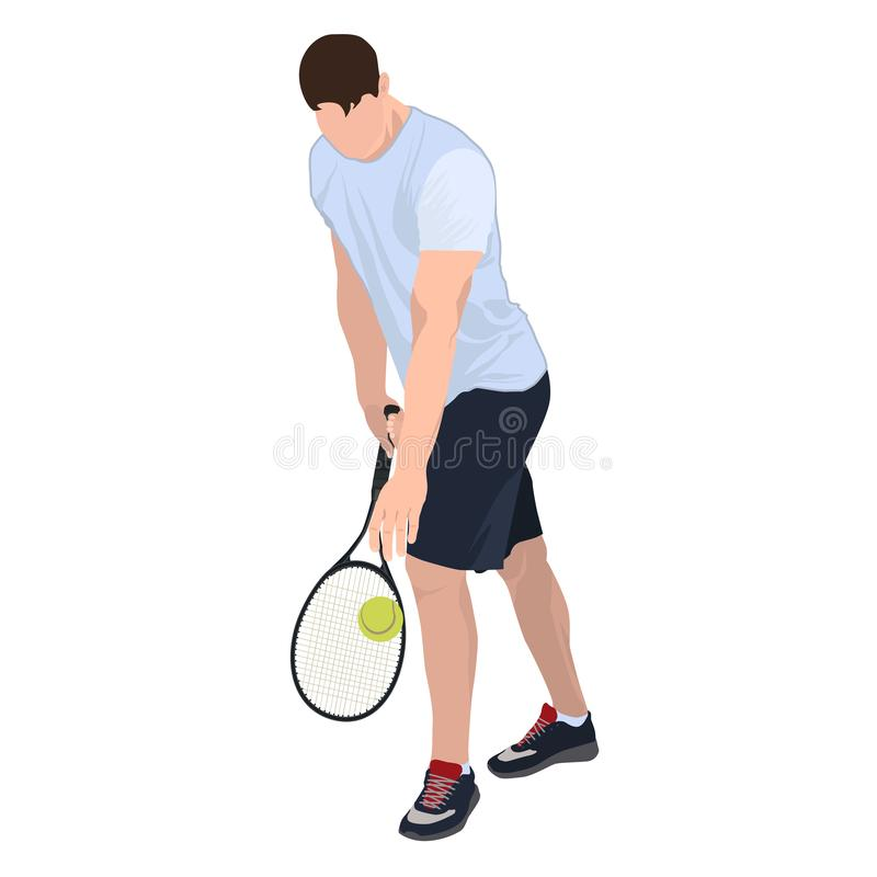 Tennis player with ball and racket, vector flat isolated illustration stock photo