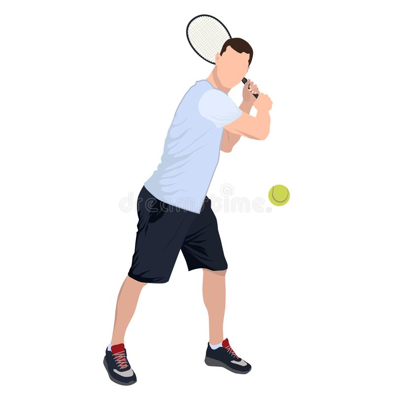 Tennis player with ball and racket, vector flat isolated illustration royalty free stock photo