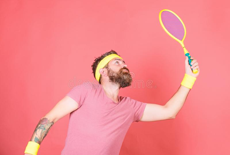 Tennis player beginner retro fashion. Concentrated on tennis court. Tennis sport and entertainment. Athlete hipster hold royalty free stock photos