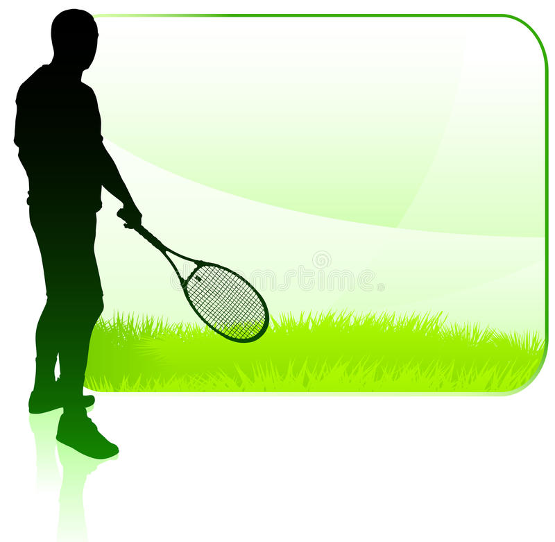 Tennis Player with Blank Nature Frame vector illustration