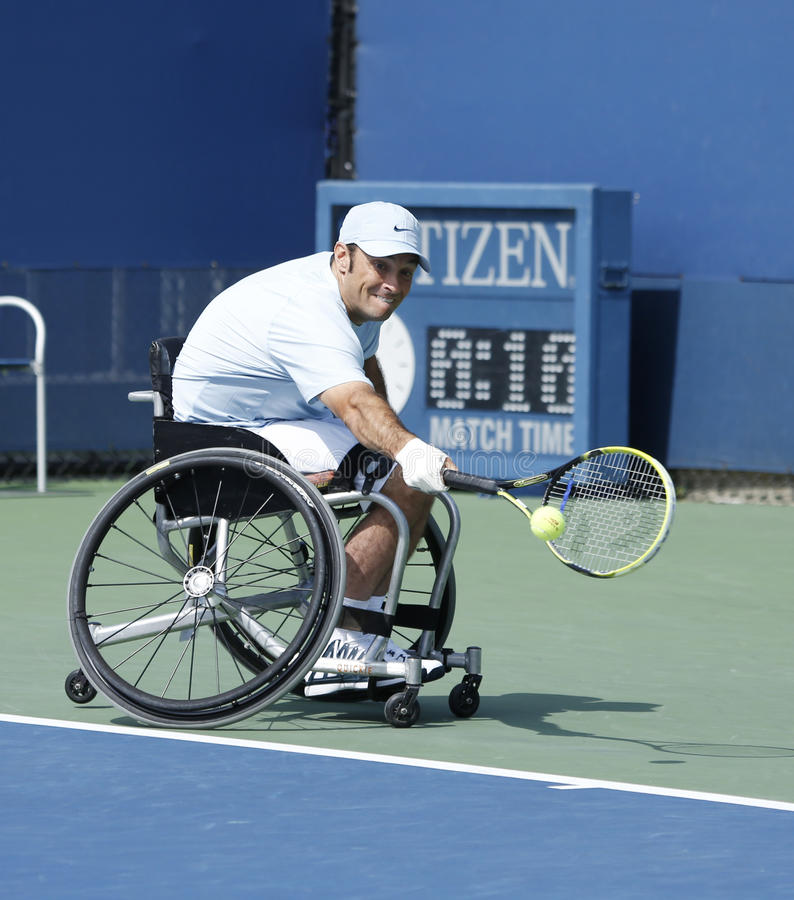 Download Tennis Player David Wagner From USA During His US Open 2013 Wheelchair Quad Singles Match Editorial Photography - Image: 33982727