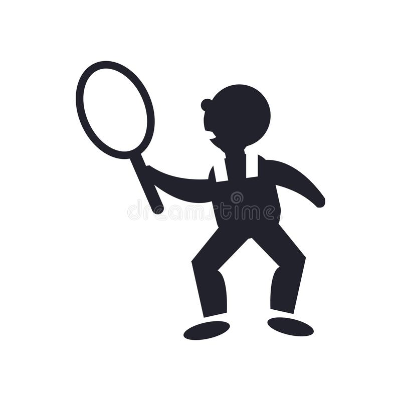 Tennis player icon vector sign and symbol isolated on white background, Tennis player logo concept stock illustration