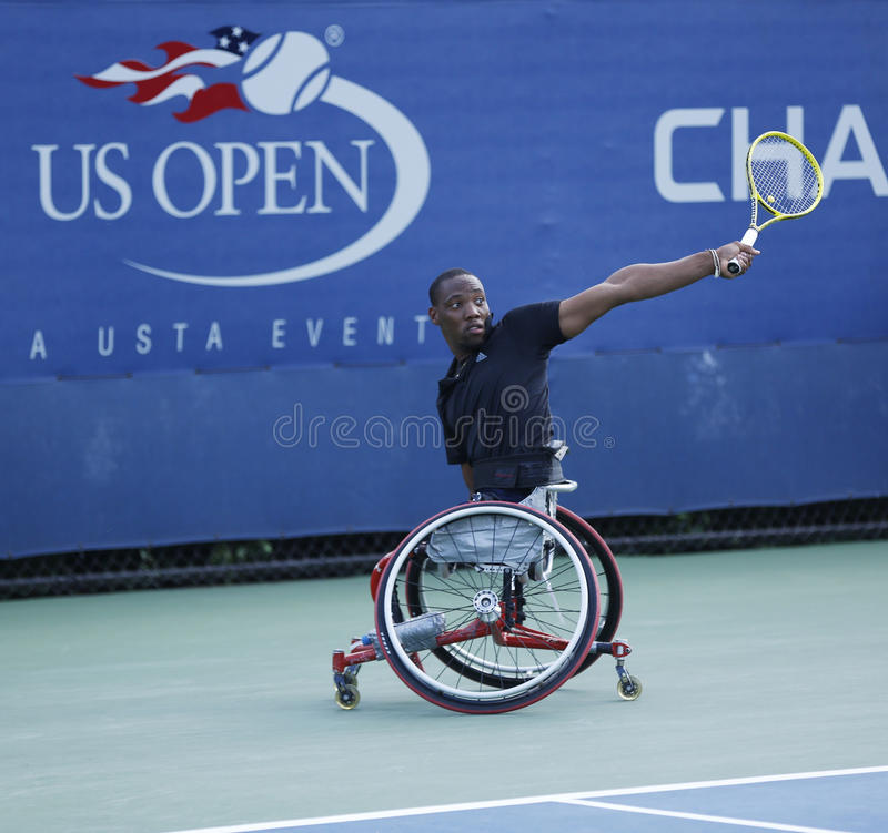 Tennis Player Lucas Sithole From South Africa During US Open 2013 Wheelchair Quad Singles Match Editorial Stock Image
