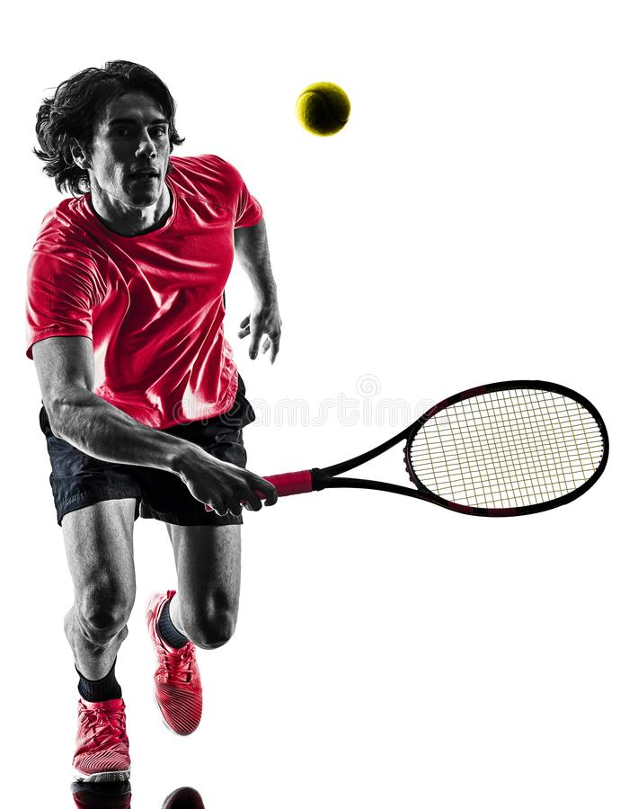 Download Tennis Player Man Silhouette Isolated White Background Stock Image - Image of male, studio: 108836381