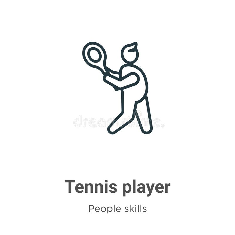 Tennis player outline vector icon. Thin line black tennis player icon, flat vector simple element illustration from editable. People skills concept isolated vector illustration