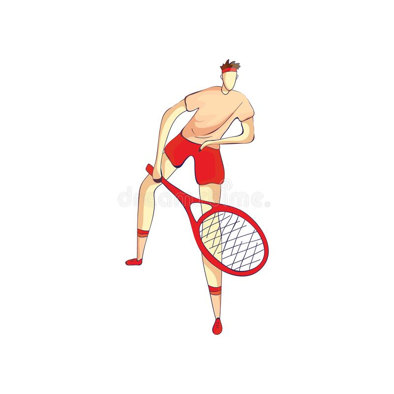 Tennis player holding a racket in front of him. Vector illustration on white background. Tennis player in a pink shirt and red shorts holding a racket in front stock illustration
