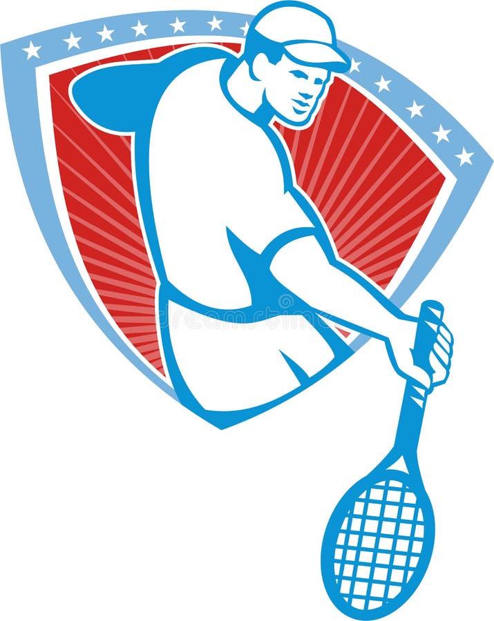 Download Tennis Player Racquet Shield Retro Stock Vector - Image: 33766412