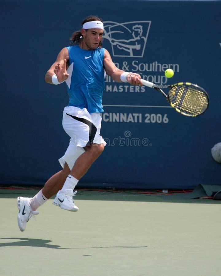 Tennis Player Rafael Nadal. Professional Tennis Player Rafael Nadal hitting a forehand royalty free stock images