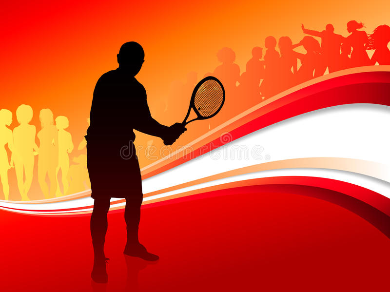 Tennis Player with Red Abstract Crowd vector illustration