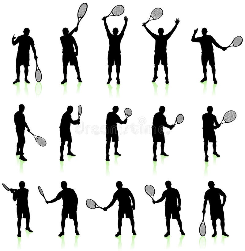 Tennis Player Silhouette Collection stock illustration