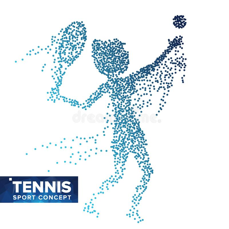 Tennis Player Silhouette Vector. Halftone Dots. Dynamic Tennis Athlete In Action. Flying Dotted Particles. Sport Banner stock illustration