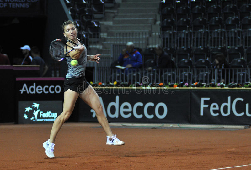Tennis player Simona Halep training before a match royalty free stock image