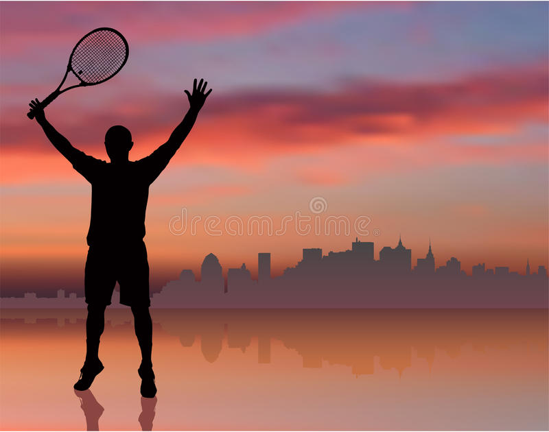 Tennis Player on Sunset Background with Skyline vector illustration