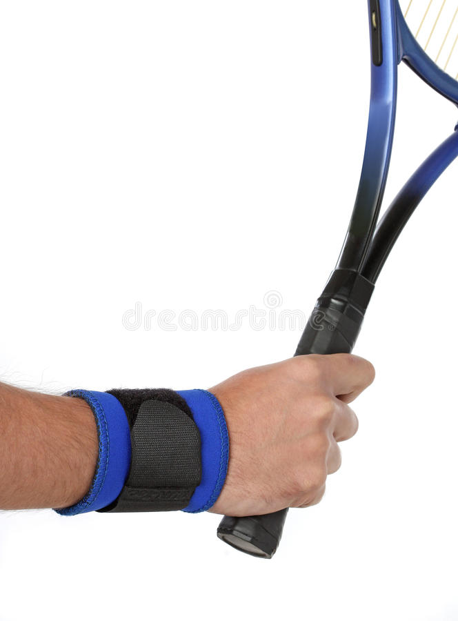 Tennis player wearing a wrist bandage royalty free stock photo