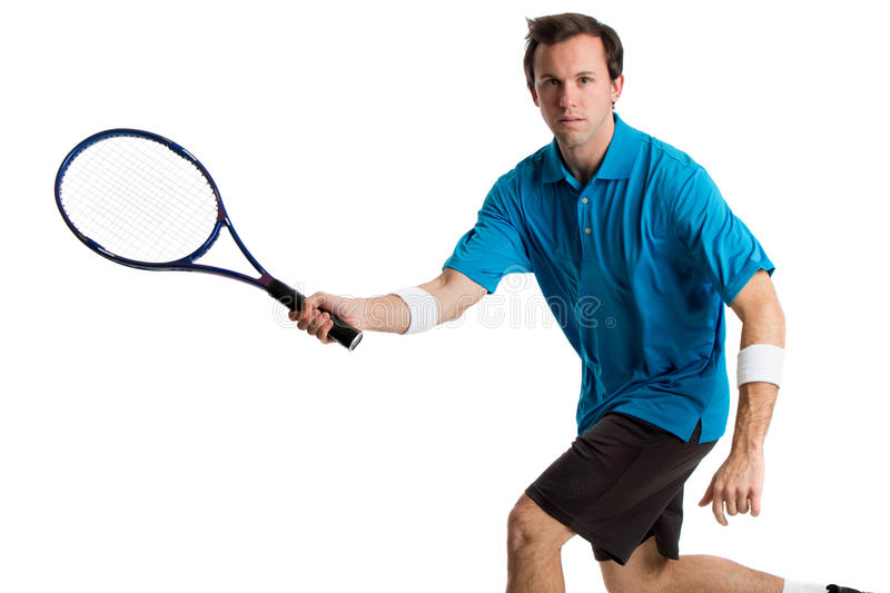 Tennis Player. Young adult male tennis player. Studio shot over white stock photo