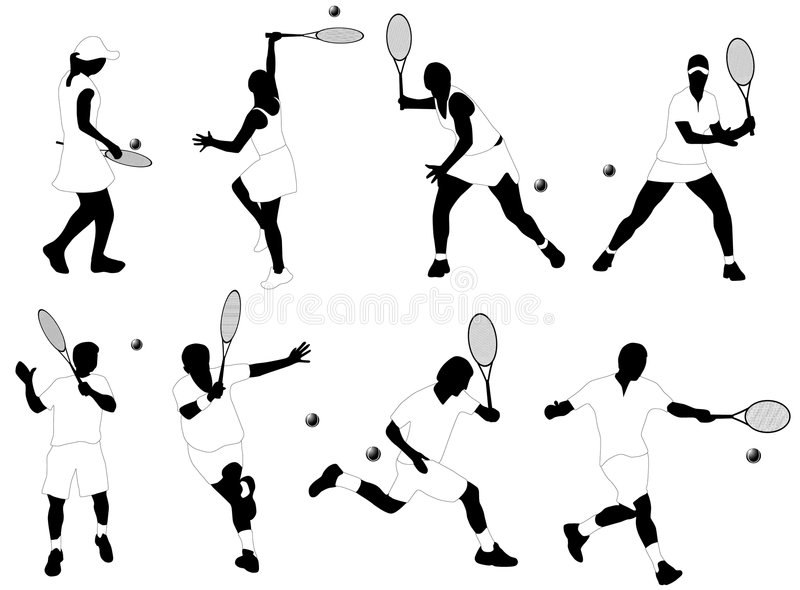 Tennis players. Illustration, black and white