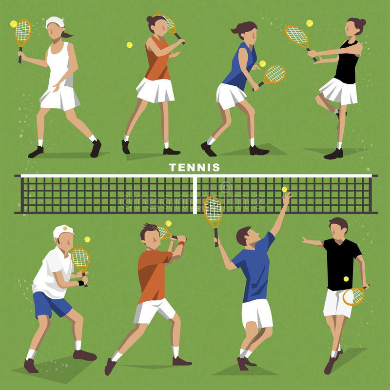 Tennis players collection. Summer game event in flat style stock illustration